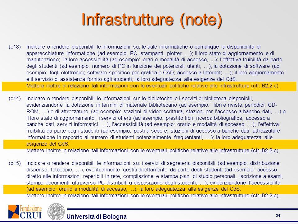 Università di Bologna 34 Infrastrutture (note) (c13)Indicare o rendere disponibili le informazioni su: le aule informatiche o comunque la disponibilit