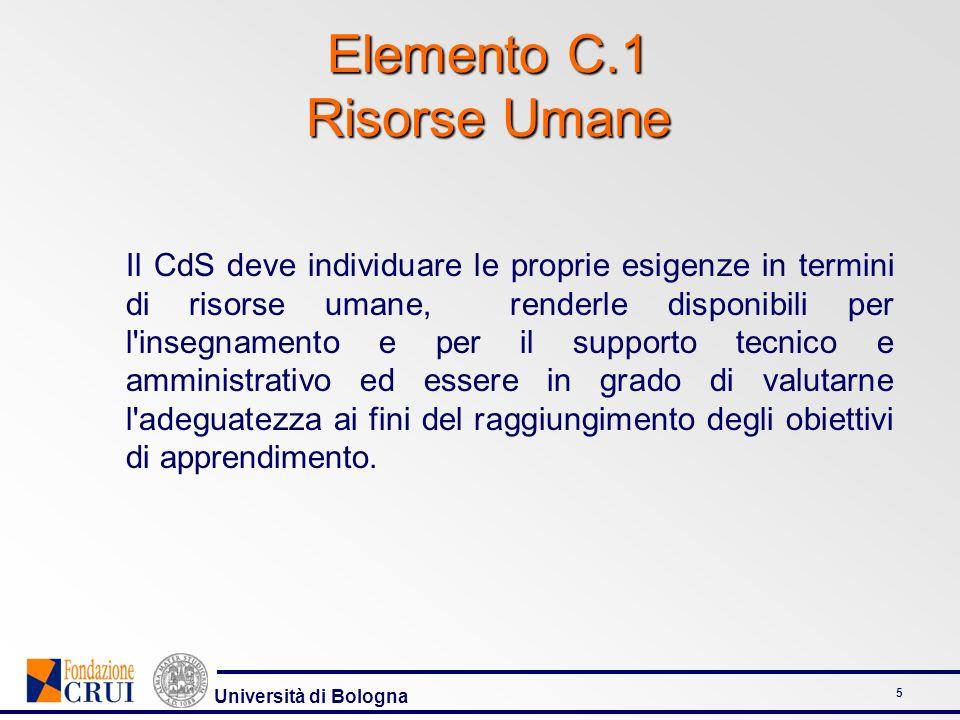 Università di Bologna 5 Il CdS deve individuare le proprie esigenze in termini di risorse umane, renderle disponibili per l insegnamento e per il supporto tecnico e amministrativo ed essere in grado di valutarne l adeguatezza ai fini del raggiungimento degli obiettivi di apprendimento.