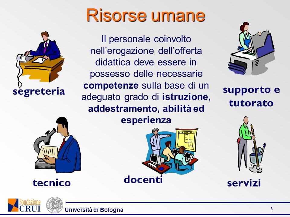 Università di Bologna 6 Il personale coinvolto nellerogazione dellofferta didattica deve essere in possesso delle necessarie competenze sulla base di