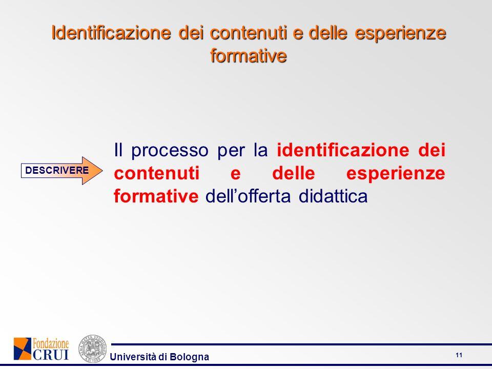 Università di Bologna 11 Identificazione dei contenuti e delle esperienze formative Il processo per la identificazione dei contenuti e delle esperienz