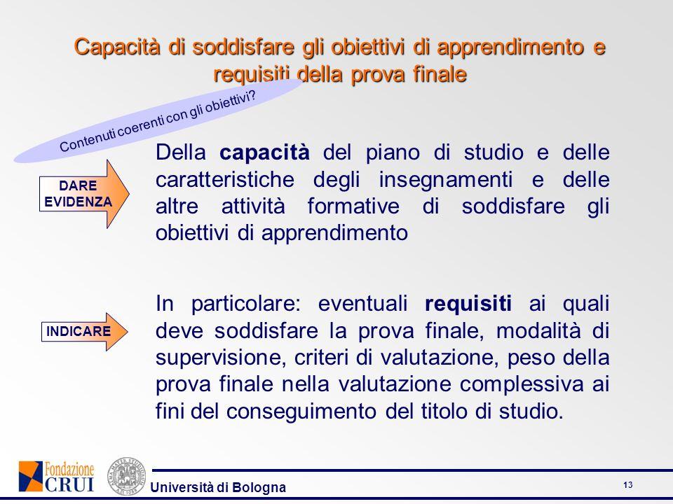 Università di Bologna 13 Capacità di soddisfare gli obiettivi di apprendimento e requisiti della prova finale Della capacità del piano di studio e del