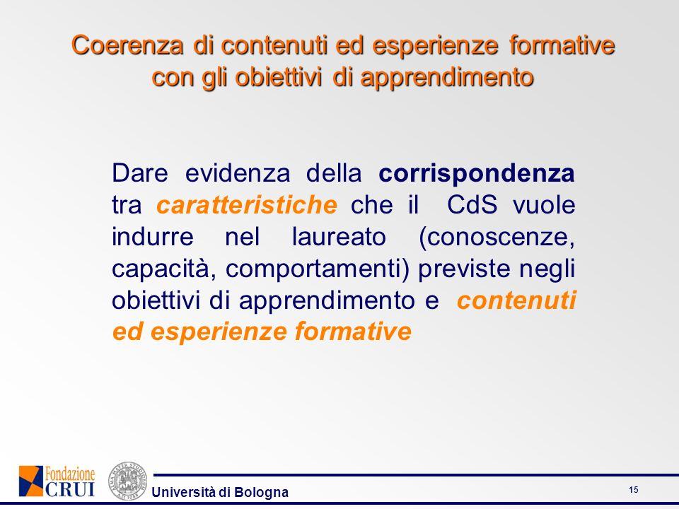 Università di Bologna 15 Coerenza di contenuti ed esperienze formative con gli obiettivi di apprendimento Dare evidenza della corrispondenza tra carat