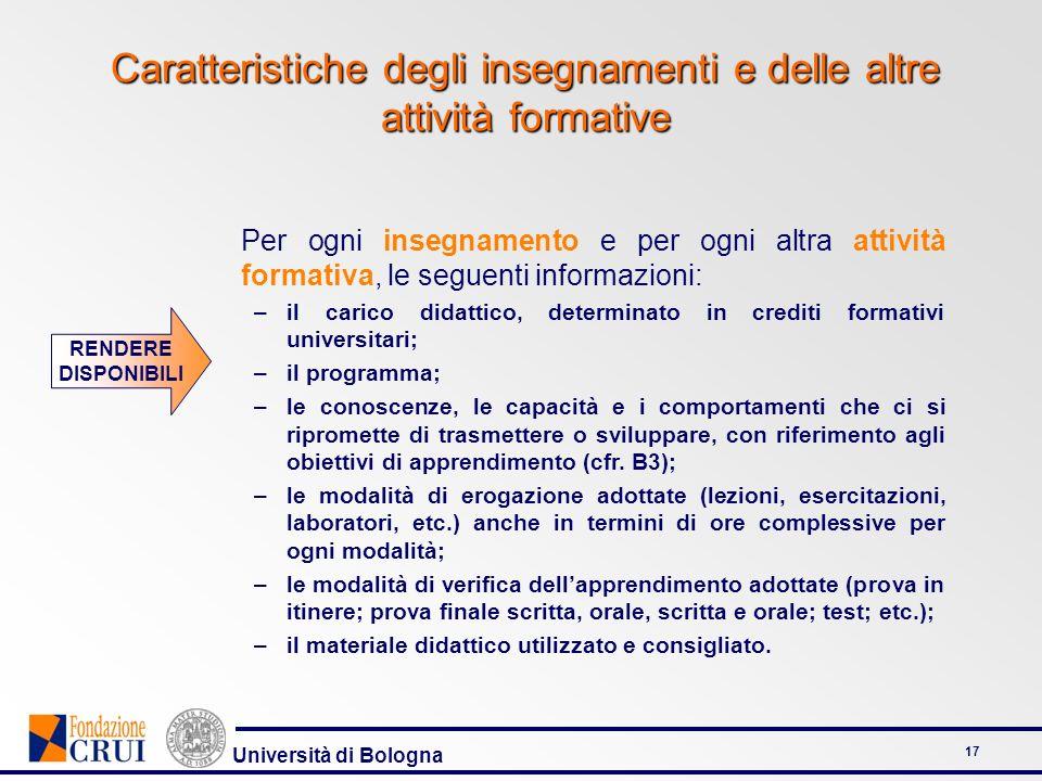 Università di Bologna 17 Caratteristiche degli insegnamenti e delle altre attività formative Per ogni insegnamento e per ogni altra attività formativa