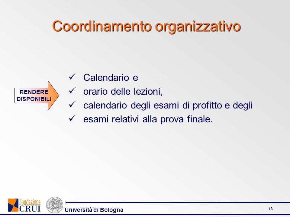 Università di Bologna 18 Coordinamento organizzativo Calendario e orario delle lezioni, calendario degli esami di profitto e degli esami relativi alla