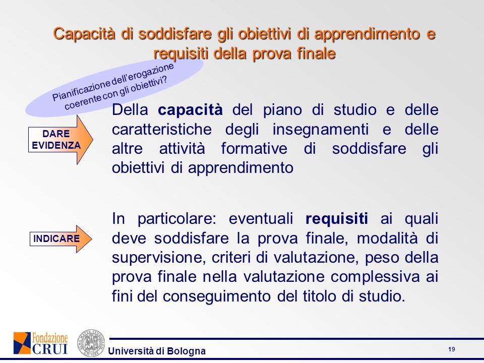 Università di Bologna 19 Pianificazione dellerogazione coerente con gli obiettivi? Capacità di soddisfare gli obiettivi di apprendimento e requisiti d