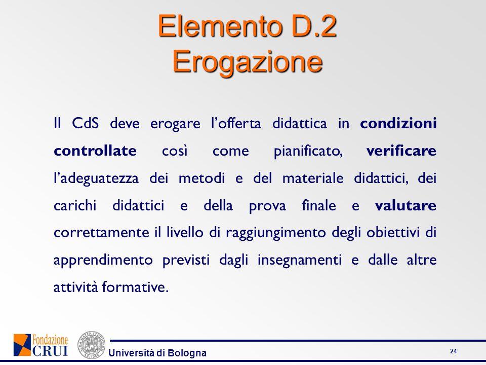 Università di Bologna 24 Elemento D.2 Erogazione Il CdS deve erogare lofferta didattica in condizioni controllate così come pianificato, verificare la