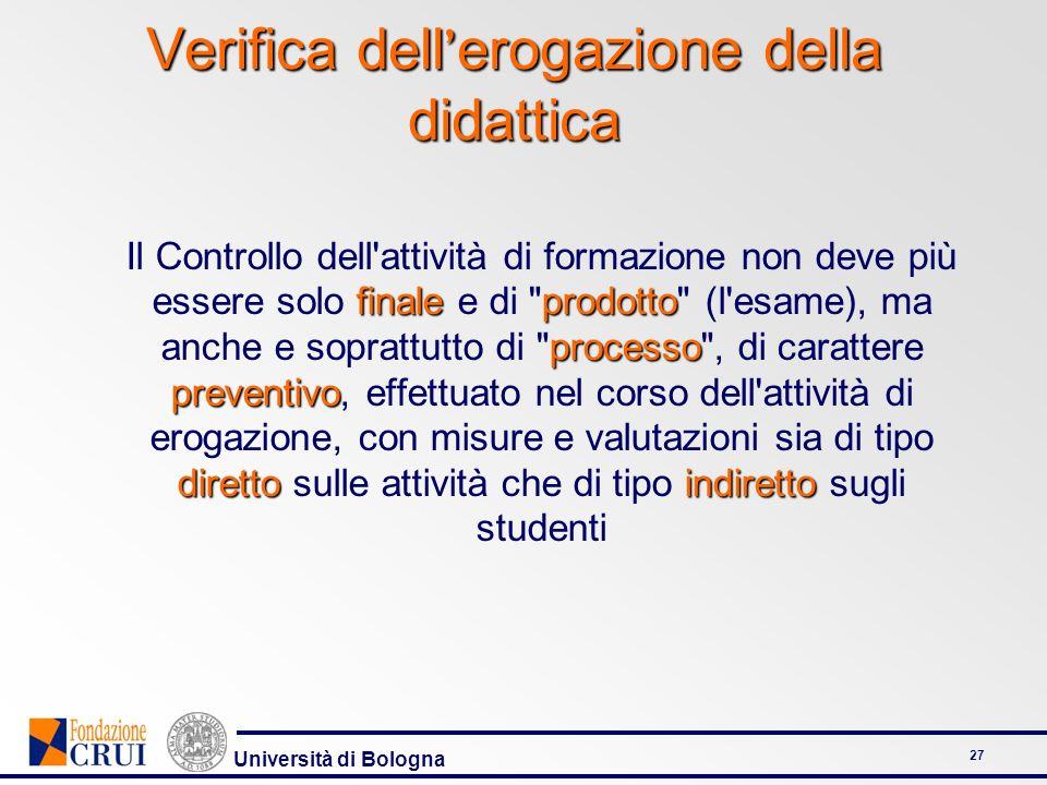 Università di Bologna 27 finaleprodotto processo preventivo direttoindiretto Il Controllo dell'attività di formazione non deve più essere solo finale
