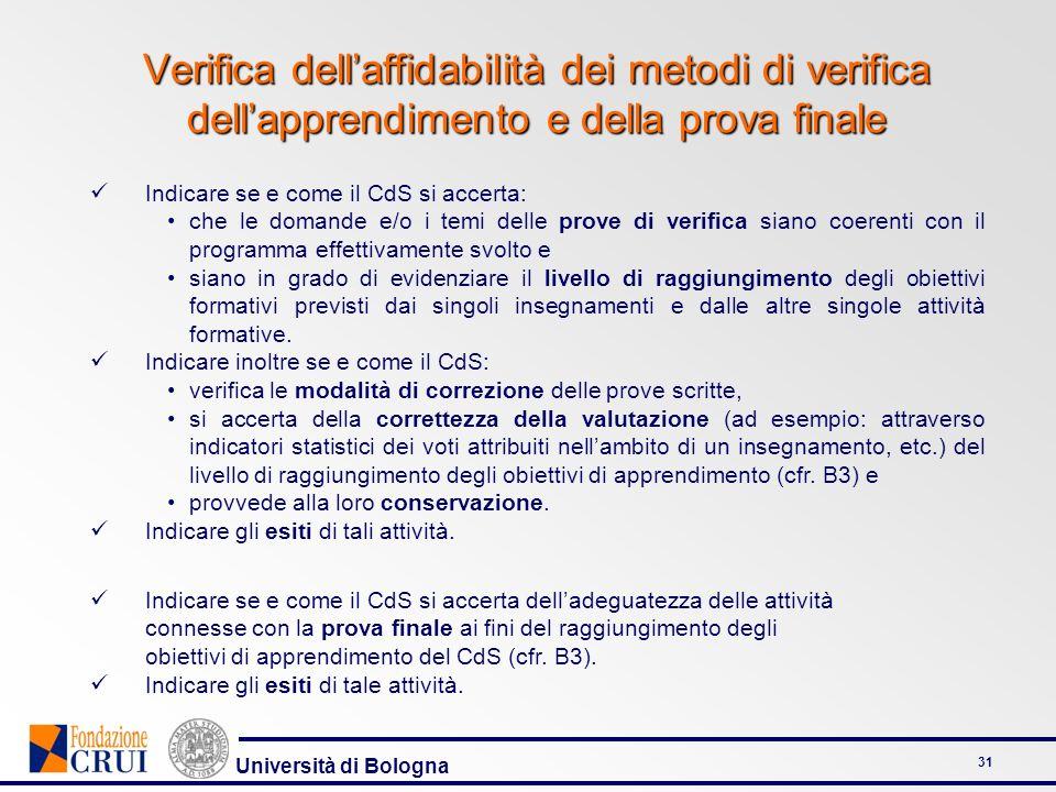 Università di Bologna 31 Verifica dellaffidabilità dei metodi di verifica dellapprendimento e della prova finale Indicare se e come il CdS si accerta:
