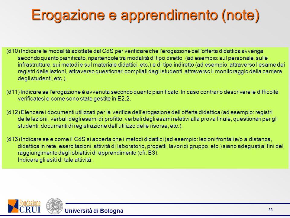 Università di Bologna 33 Erogazione e apprendimento (note) (d10) Indicare le modalità adottate dal CdS per verificare che lerogazione dellofferta dida