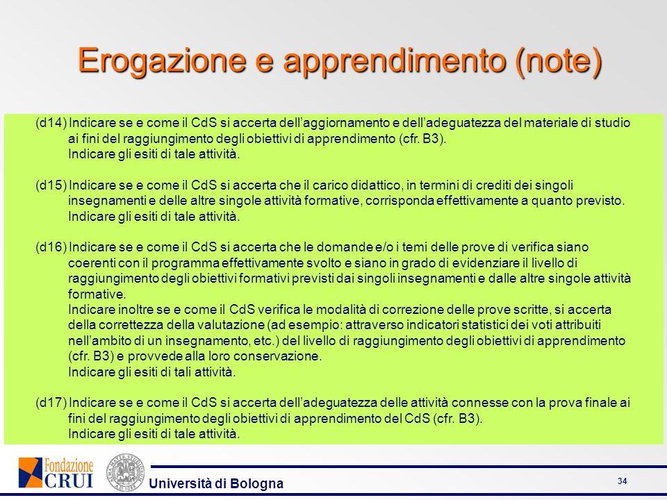 Università di Bologna 34 Erogazione e apprendimento (note) (d14) Indicare se e come il CdS si accerta dellaggiornamento e delladeguatezza del material