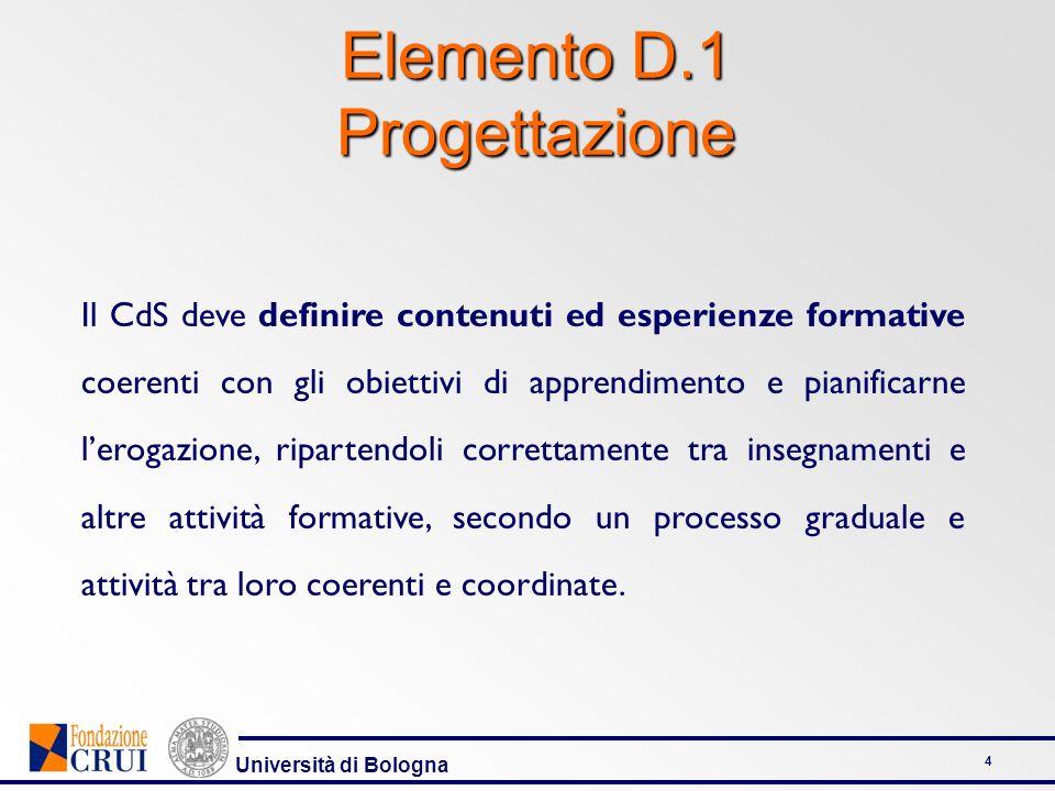 Università di Bologna 4 Elemento D.1 Progettazione Il CdS deve definire contenuti ed esperienze formative coerenti con gli obiettivi di apprendimento