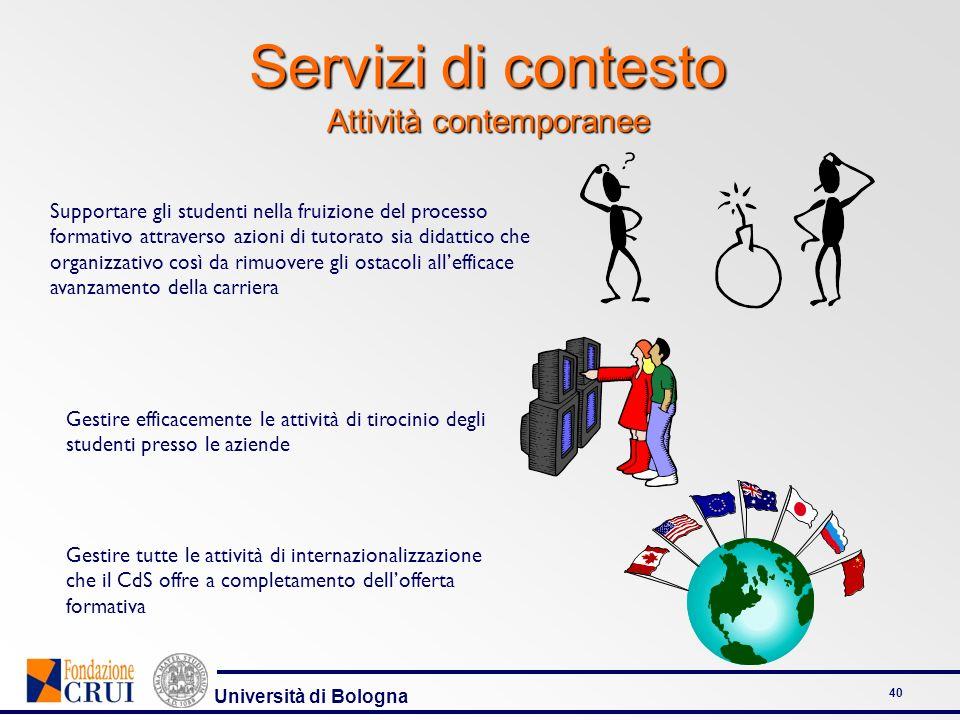 Università di Bologna 40 Servizi di contesto Attività contemporanee Supportare gli studenti nella fruizione del processo formativo attraverso azioni d