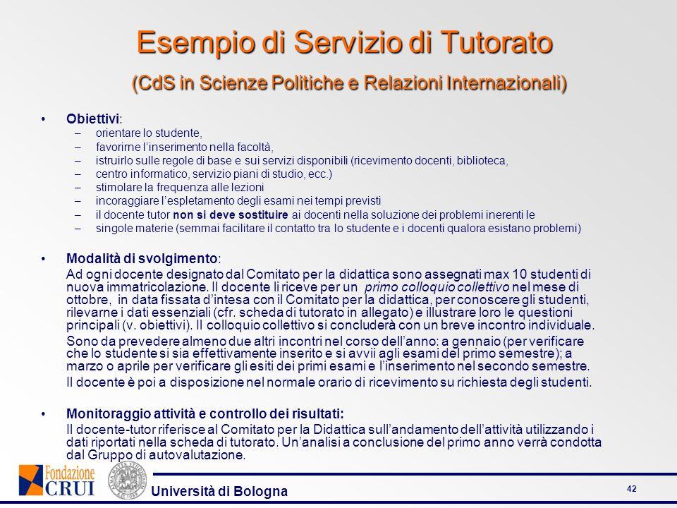 Università di Bologna 42 Esempio di Servizio di Tutorato (CdS in Scienze Politiche e Relazioni Internazionali) Obiettivi: –orientare lo studente, –fav
