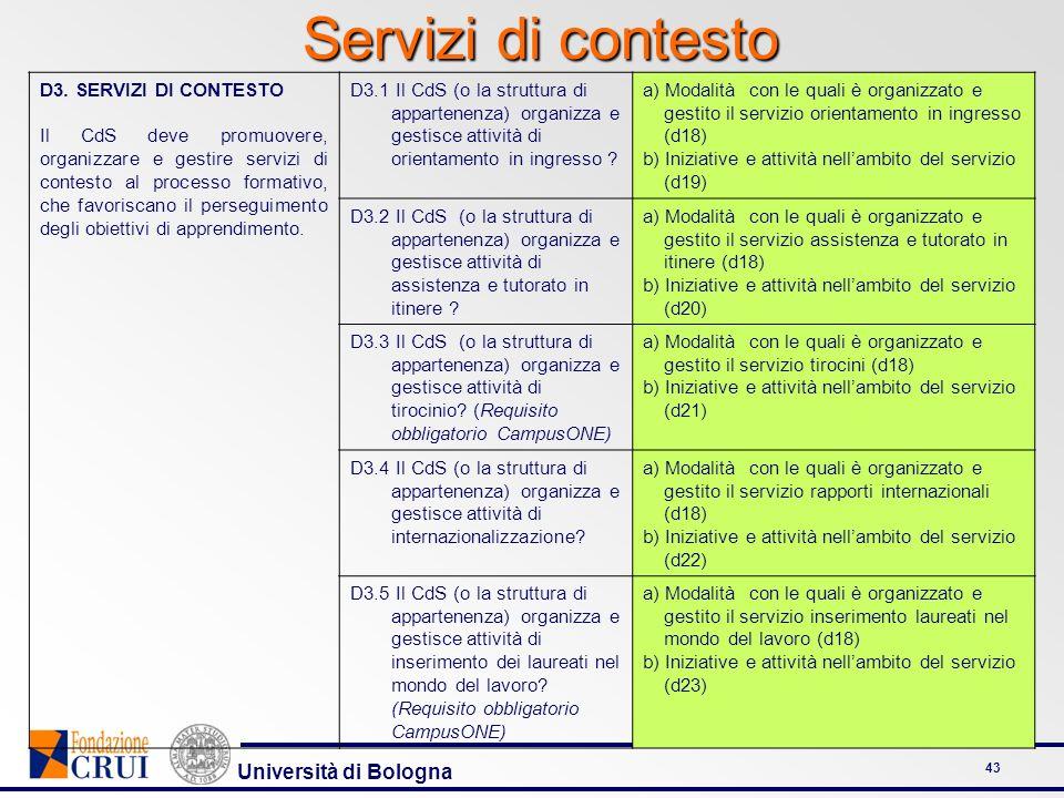 Università di Bologna 43 Servizi di contesto D3. SERVIZI DI CONTESTO Il CdS deve promuovere, organizzare e gestire servizi di contesto al processo for