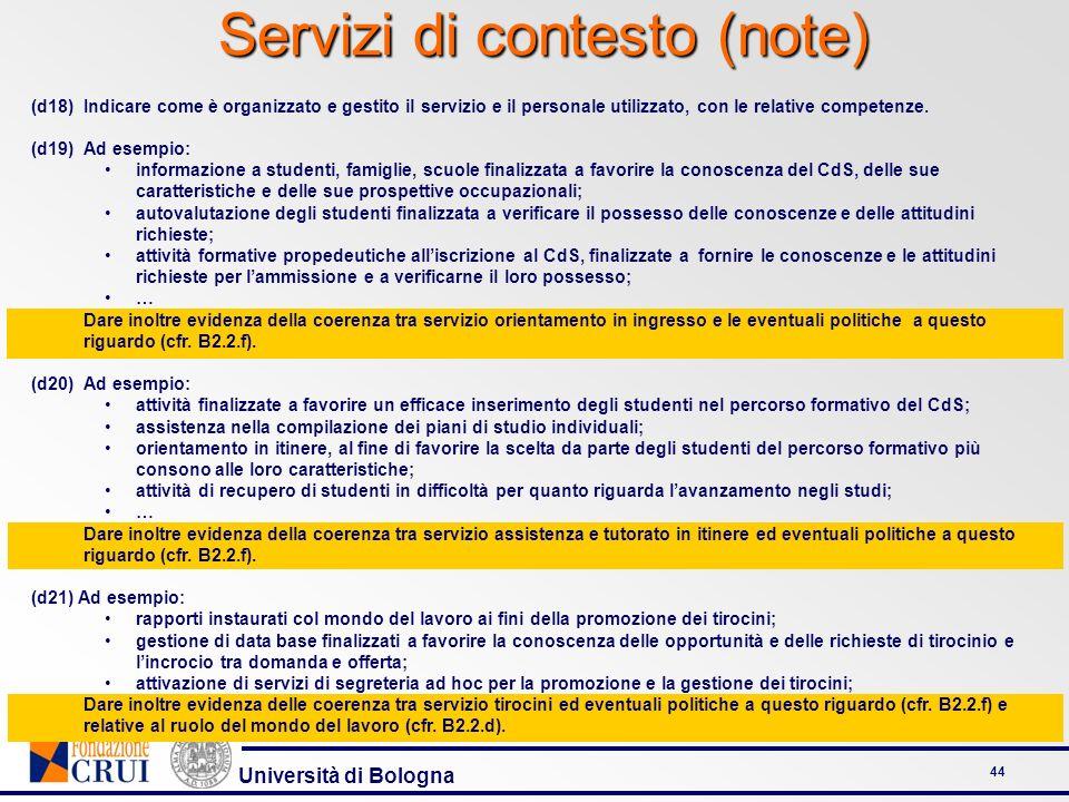 Università di Bologna 44 Servizi di contesto (note) (d18)Indicare come è organizzato e gestito il servizio e il personale utilizzato, con le relative