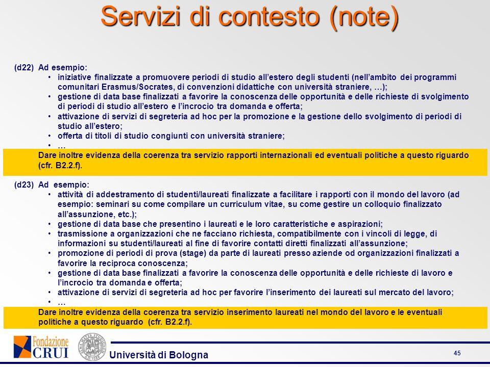 Università di Bologna 45 Servizi di contesto (note) (d22)Ad esempio: iniziative finalizzate a promuovere periodi di studio allestero degli studenti (n