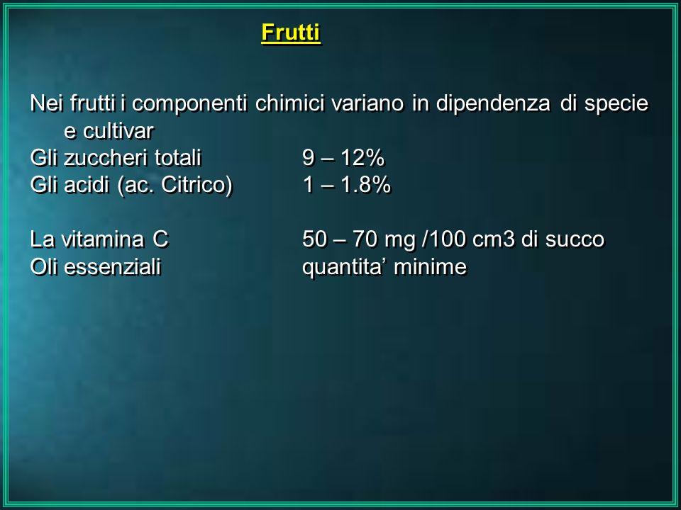 Frutti Nei frutti i componenti chimici variano in dipendenza di specie e cultivar Gli zuccheri totali 9 – 12% Gli acidi (ac. Citrico) 1 – 1.8% La vita