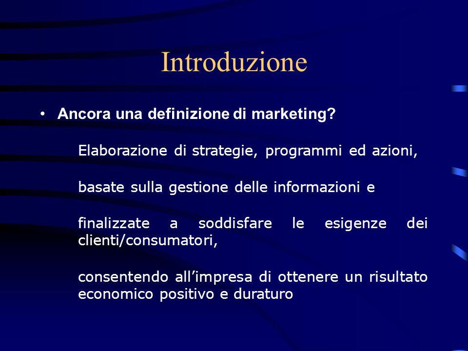 Introduzione 2 Marketing = –Strategia –Informazioni Decisioni –Orientamento al cliente –Profitto
