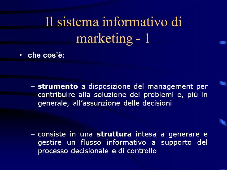 Il sistema informativo di marketing - 2 ha lo scopo di: –determinare il tipo di informazioni necessarie –generare e/o raccogliere le informazioni –elaborare le informazioni con le opportune tecniche –rendere accessibili le informazioni al management –archiviare e consentire il riutilizzo delle informazioni