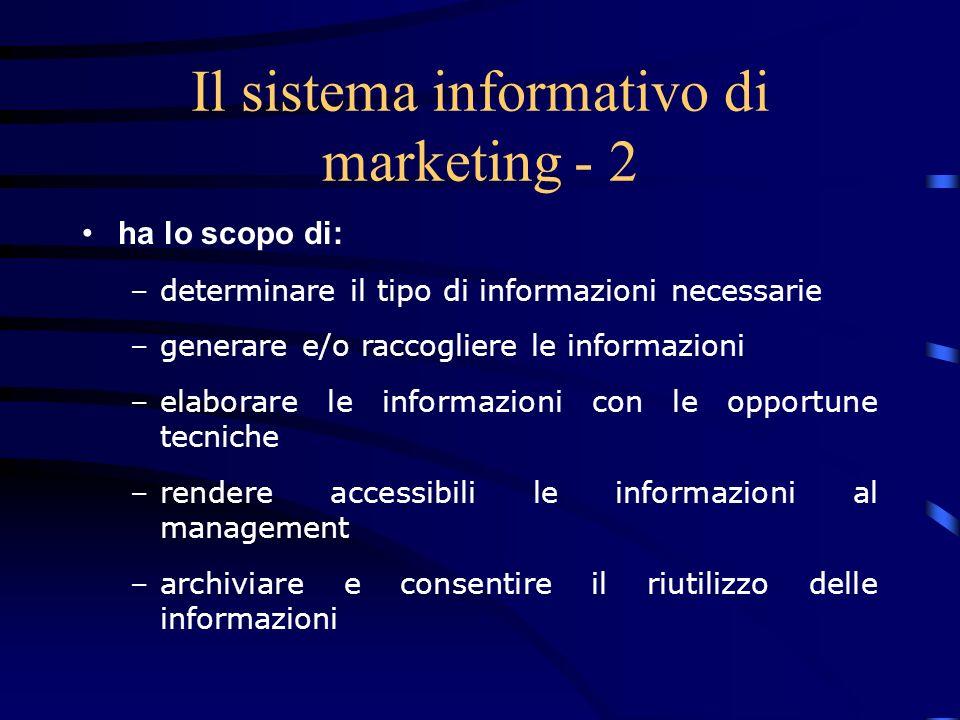 Il sistema informativo di marketing - 3 caratteristiche: –Orientamento al futuro (approccio pro-attivo) –Richiede la gestione continuativa delle informazioni –Richiede limpiego di risorse consistenti