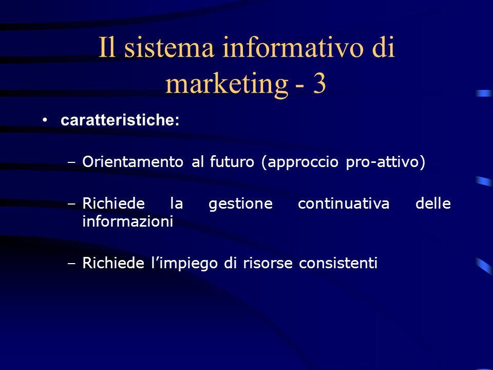 Le ricerche di marketing - 3 Sono di supporto al management per: –la comprensione del mercato –la decisione sulle strategie, le tattiche e gli strumenti –il controllo delle performance del marketing