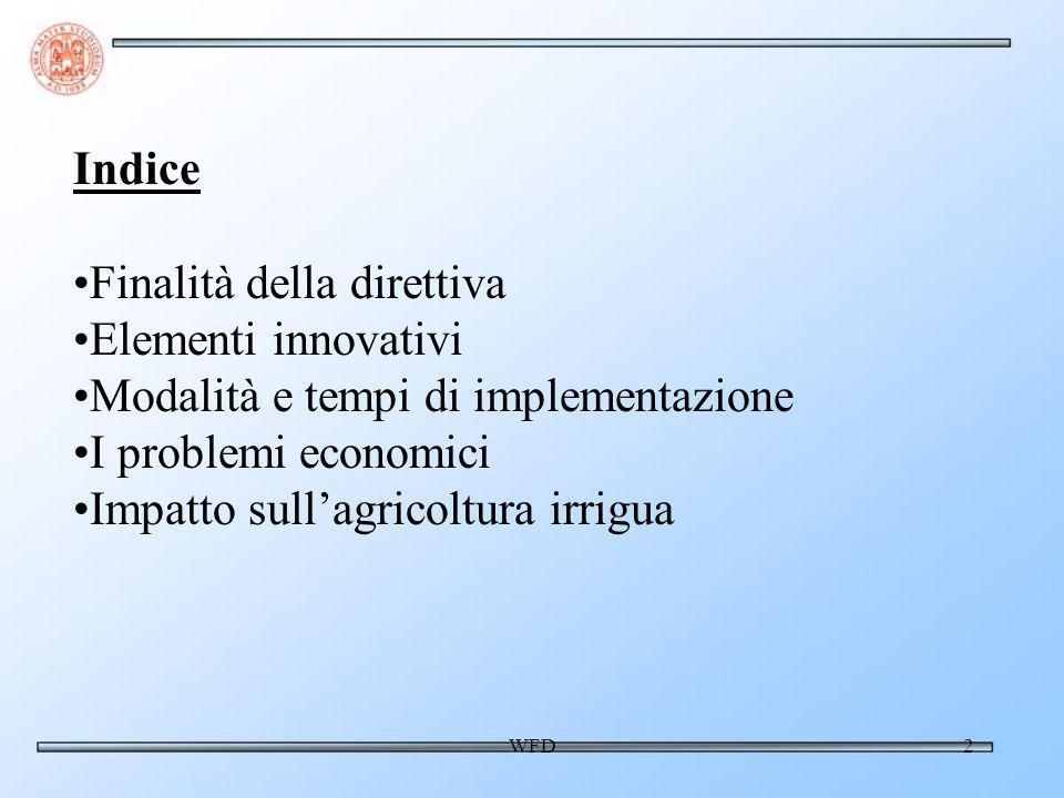 WFD2 Indice Finalità della direttiva Elementi innovativi Modalità e tempi di implementazione I problemi economici Impatto sullagricoltura irrigua