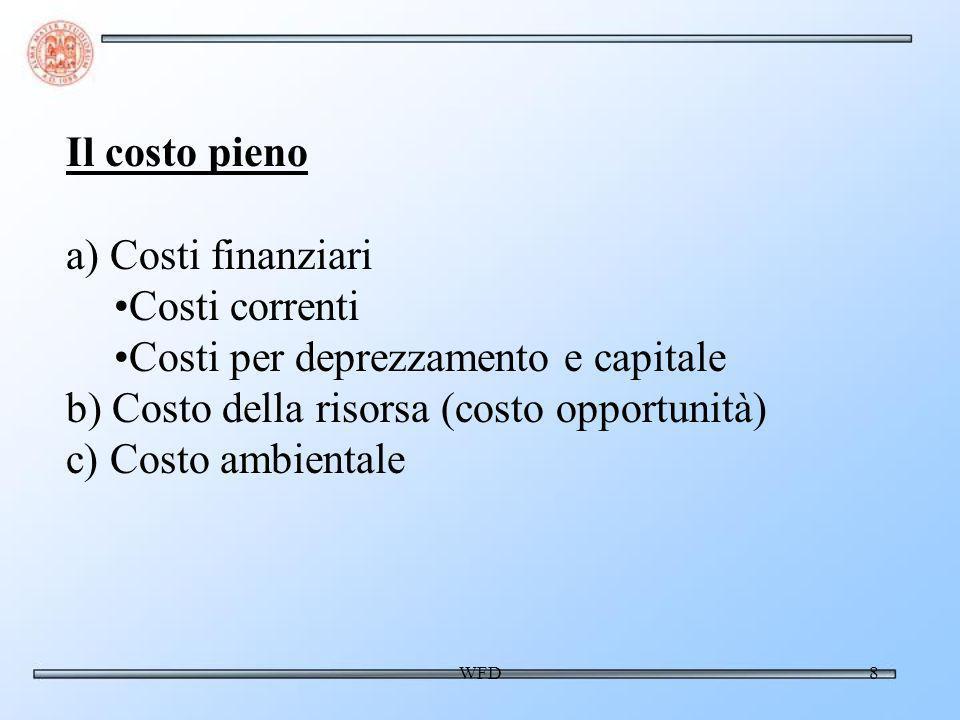 WFD9 a) Quantificazione del costo pieno - 1 1) Costi finanziari Costi finanziari correnti: già (quasi) coperti Costi per deprezzamento: - quali investimenti includere.