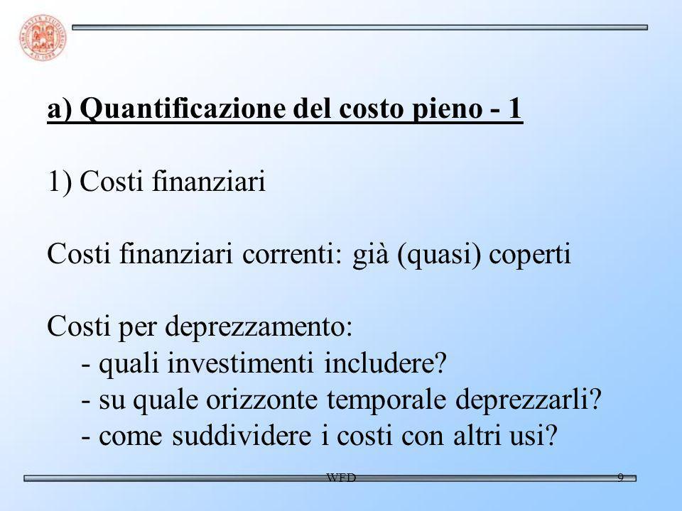 WFD10 a) Quantificazione del costo pieno - 2 2) Costo opportunità - Quando lacqua è effettivamente scarsa.