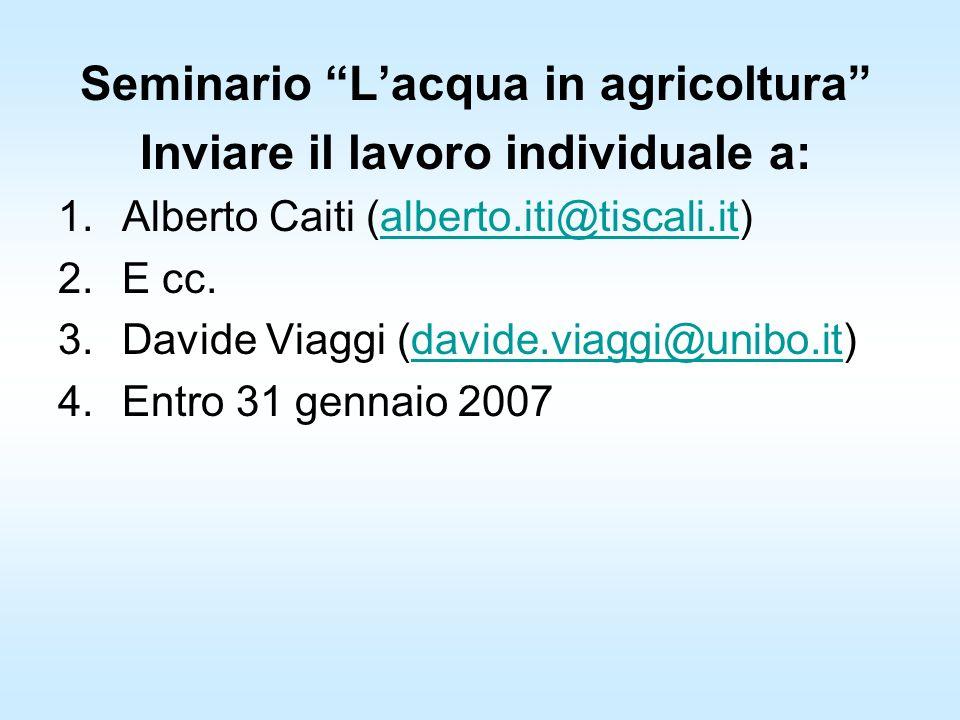 Seminario Lacqua in agricoltura Inviare il lavoro individuale a: 1.Alberto Caiti (alberto.iti@tiscali.it)alberto.iti@tiscali.it 2.E cc.