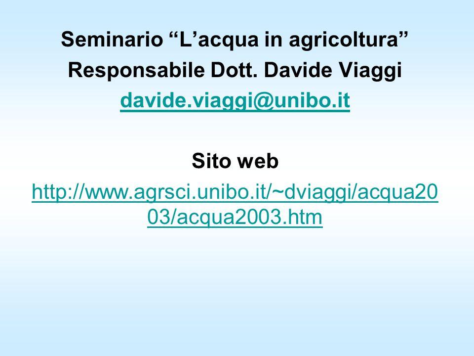 Seminario Lacqua in agricoltura Responsabile Dott. Davide Viaggi davide.viaggi@unibo.it Sito web http://www.agrsci.unibo.it/~dviaggi/acqua20 03/acqua2