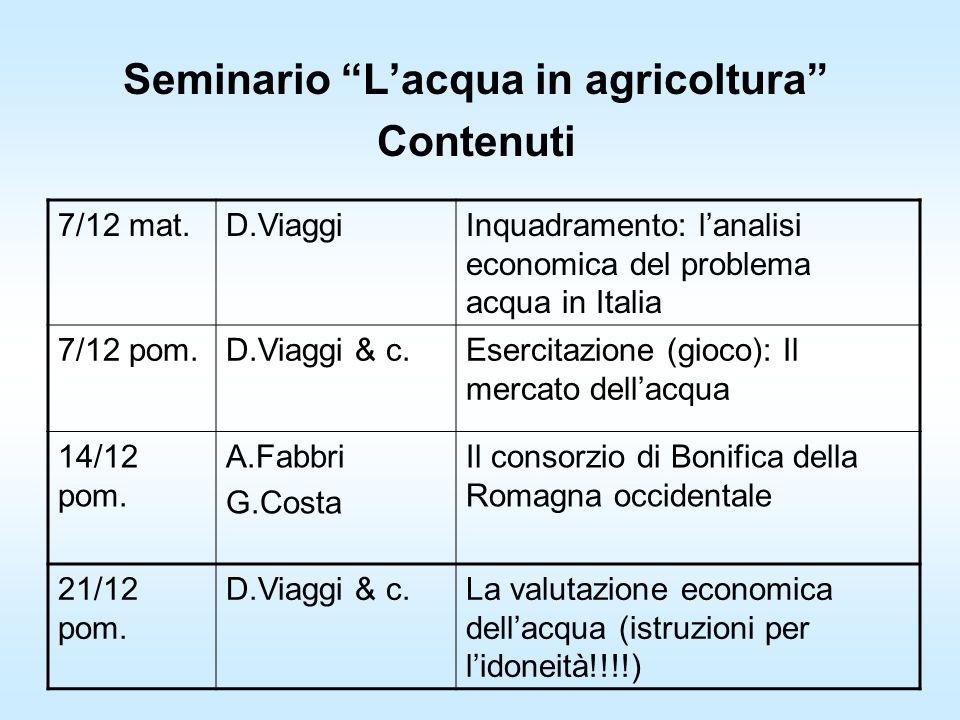 Seminario Lacqua in agricoltura Contenuti 7/12 mat.D.ViaggiInquadramento: lanalisi economica del problema acqua in Italia 7/12 pom.D.Viaggi & c.Esercitazione (gioco): Il mercato dellacqua 14/12 pom.