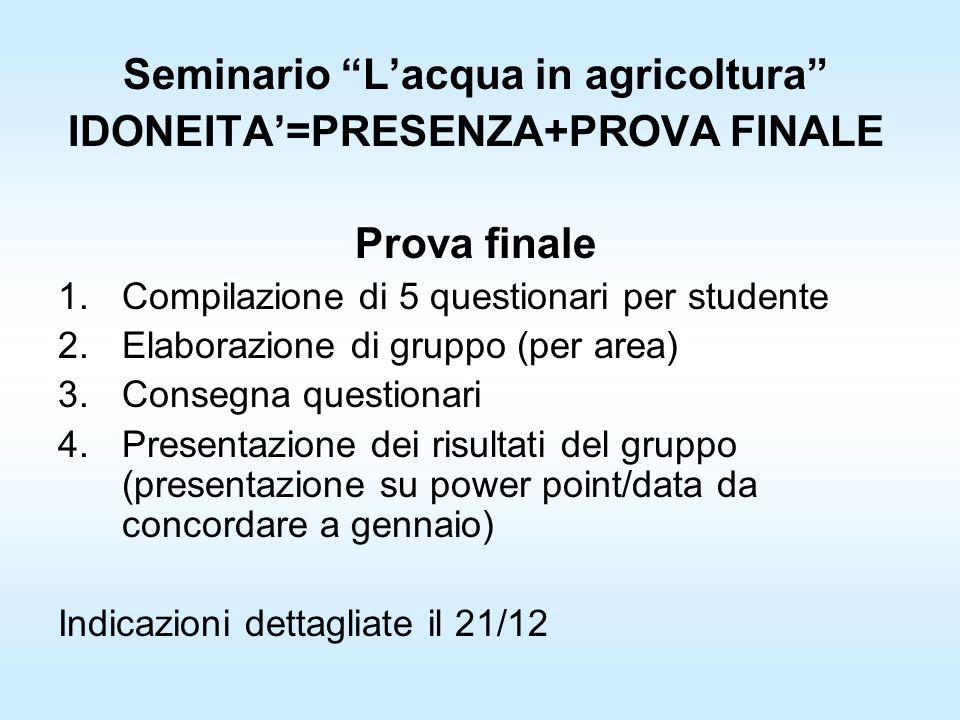 Seminario Lacqua in agricoltura IDONEITA=PRESENZA+PROVA FINALE Prova finale 1.Compilazione di 5 questionari per studente 2.Elaborazione di gruppo (per