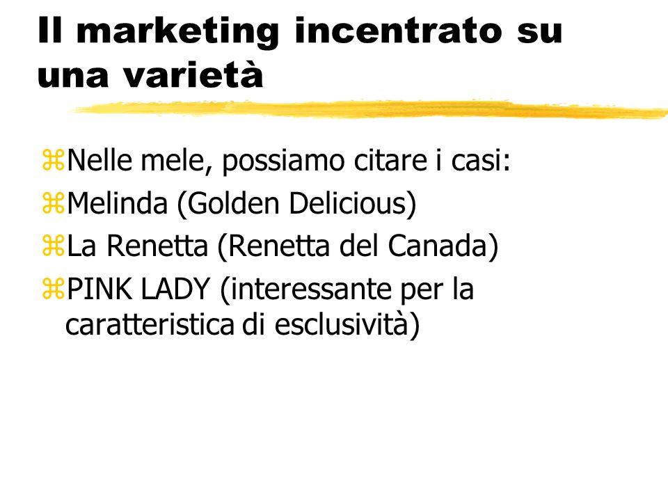 Il marketing incentrato su una varietà zNelle mele, possiamo citare i casi: zMelinda (Golden Delicious) zLa Renetta (Renetta del Canada) zPINK LADY (i