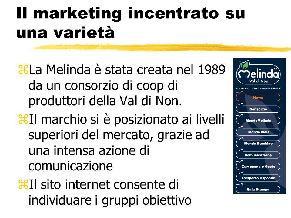 Il marketing incentrato su una varietà zLa Melinda è stata creata nel 1989 da un consorzio di coop di produttori della Val di Non. zIl marchio si è po