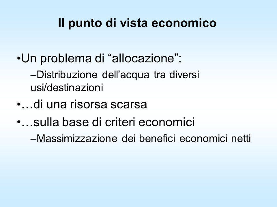 Il punto di vista economico Un problema di allocazione: –Distribuzione dellacqua tra diversi usi/destinazioni …di una risorsa scarsa …sulla base di cr