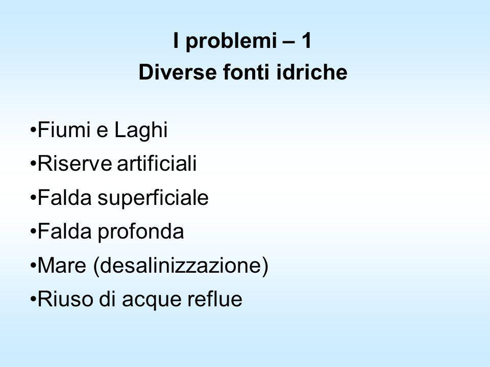 I problemi – 1 Diverse fonti idriche Fiumi e Laghi Riserve artificiali Falda superficiale Falda profonda Mare (desalinizzazione) Riuso di acque reflue
