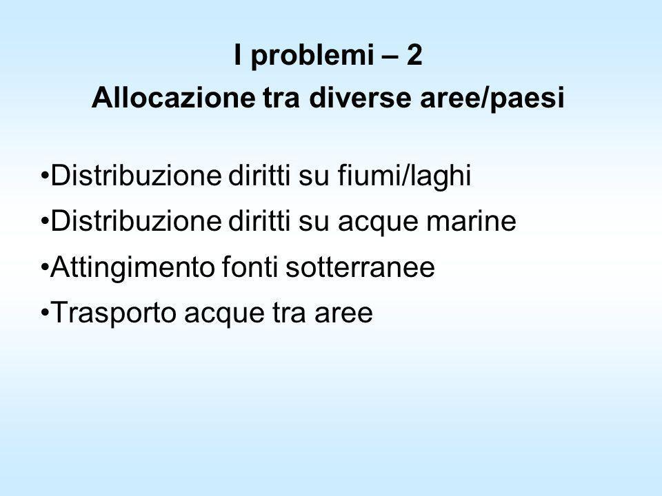 I problemi – 2 Allocazione tra diverse aree/paesi Distribuzione diritti su fiumi/laghi Distribuzione diritti su acque marine Attingimento fonti sotter