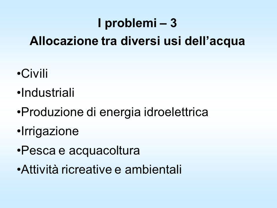 I problemi – 3 Allocazione tra diversi usi dellacqua Civili Industriali Produzione di energia idroelettrica Irrigazione Pesca e acquacoltura Attività