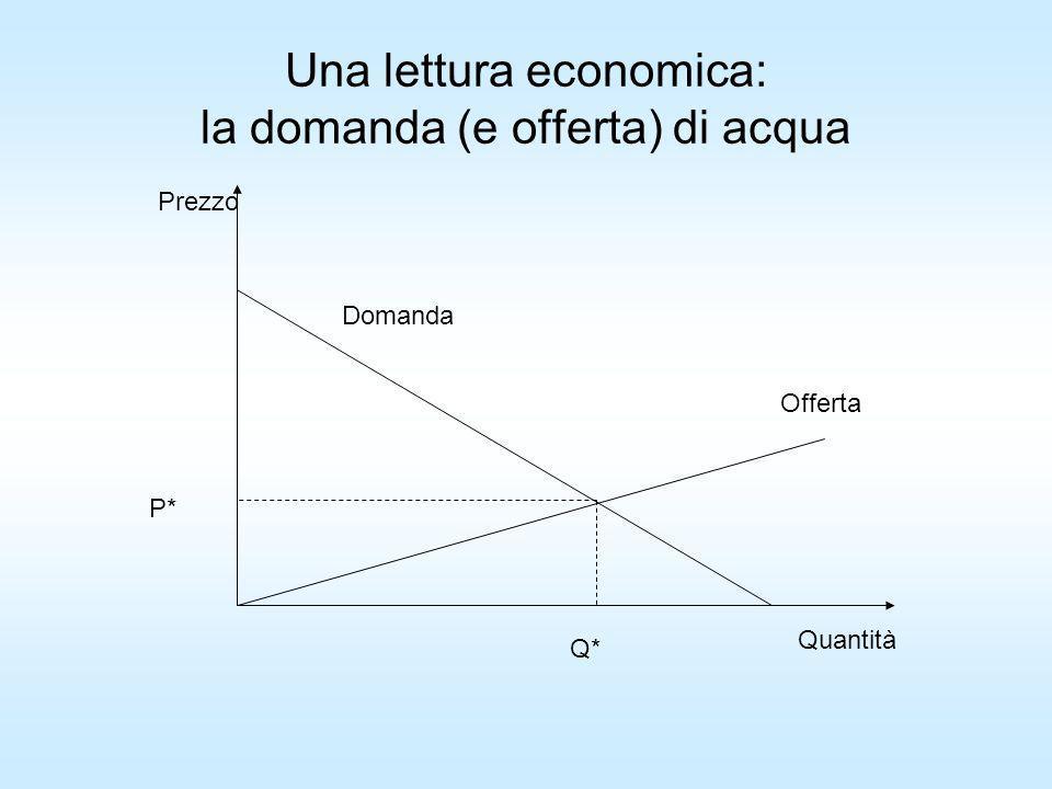 Una lettura economica: la domanda (e offerta) di acqua Domanda Offerta Prezzo Quantità P* Q*