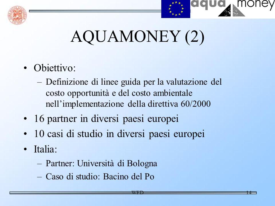 WFD14 AQUAMONEY (2) Obiettivo: –Definizione di linee guida per la valutazione del costo opportunità e del costo ambientale nellimplementazione della direttiva 60/2000 16 partner in diversi paesi europei 10 casi di studio in diversi paesi europei Italia: –Partner: Università di Bologna –Caso di studio: Bacino del Po