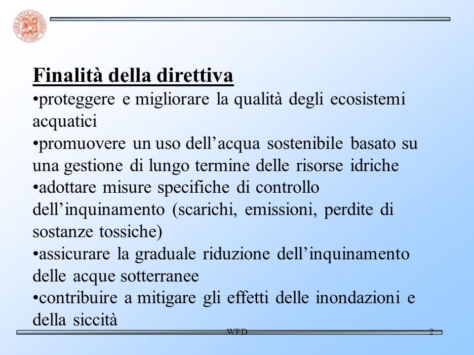 WFD2 Finalità della direttiva proteggere e migliorare la qualità degli ecosistemi acquatici promuovere un uso dellacqua sostenibile basato su una gest