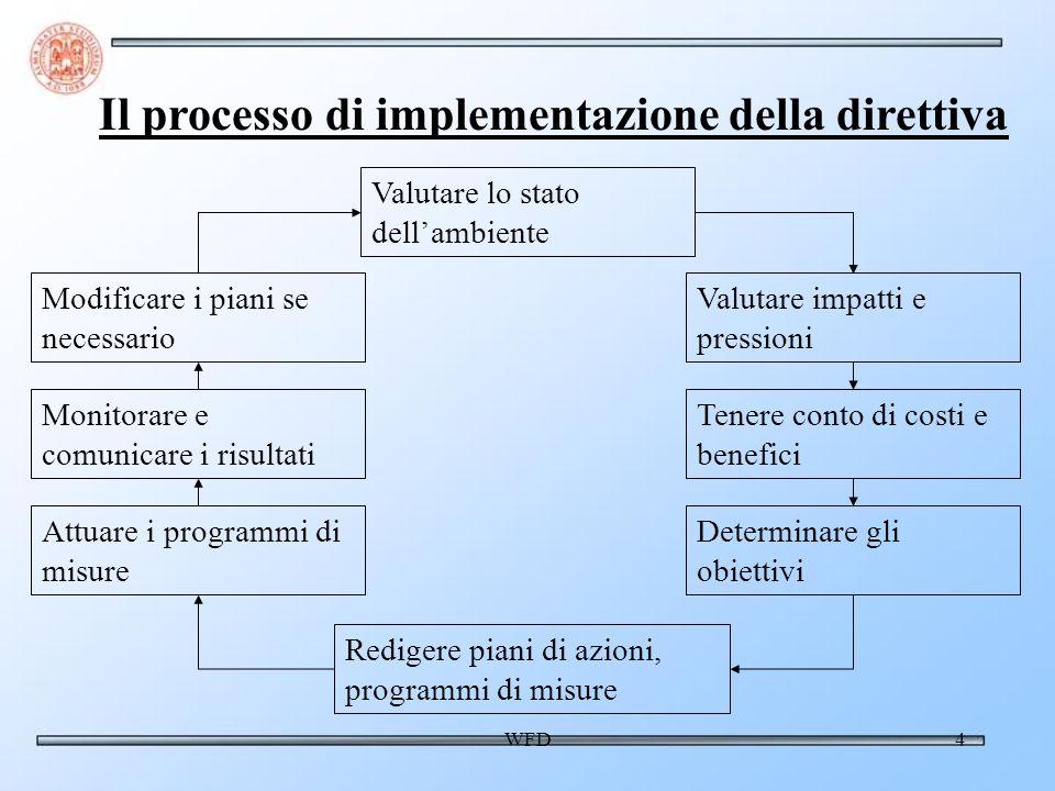 WFD4 Valutare lo stato dellambiente Valutare impatti e pressioni Tenere conto di costi e benefici Determinare gli obiettivi Redigere piani di azioni, programmi di misure Attuare i programmi di misure Monitorare e comunicare i risultati Modificare i piani se necessario Il processo di implementazione della direttiva