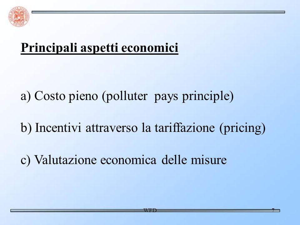 WFD7 Principali aspetti economici a) Costo pieno (polluter pays principle) b) Incentivi attraverso la tariffazione (pricing) c) Valutazione economica