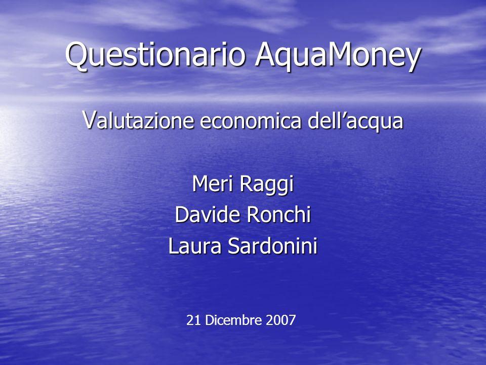 Questionario AquaMoney V alutazione economica dellacqua Meri Raggi Davide Ronchi Laura Sardonini 21 Dicembre 2007