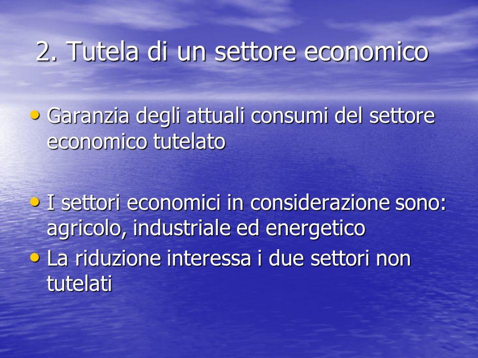 2. Tutela di un settore economico Garanzia degli attuali consumi del settore economico tutelato Garanzia degli attuali consumi del settore economico t