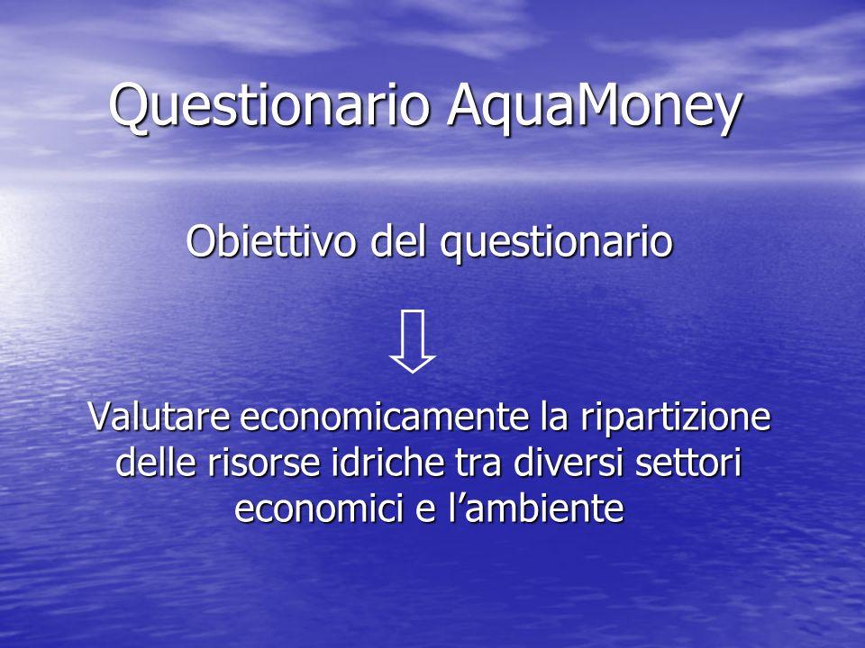 Questionario AquaMoney Obiettivo del questionario Valutare economicamente la ripartizione delle risorse idriche tra diversi settori economici e lambie