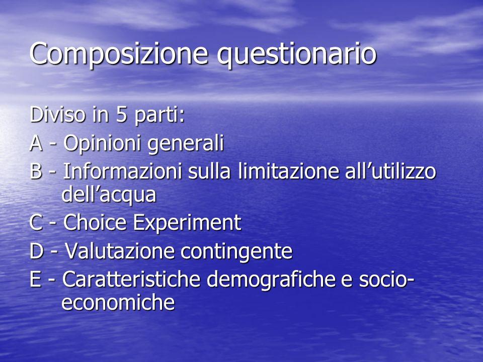 Composizione questionario Diviso in 5 parti: A - Opinioni generali B - Informazioni sulla limitazione allutilizzo dellacqua C - Choice Experiment D - Valutazione contingente E - Caratteristiche demografiche e socio- economiche