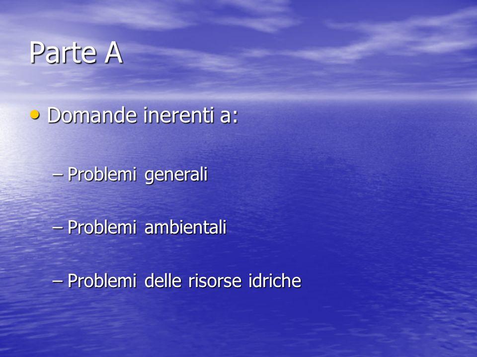 Parte A Domande inerenti a: Domande inerenti a: –Problemi generali –Problemi ambientali –Problemi delle risorse idriche