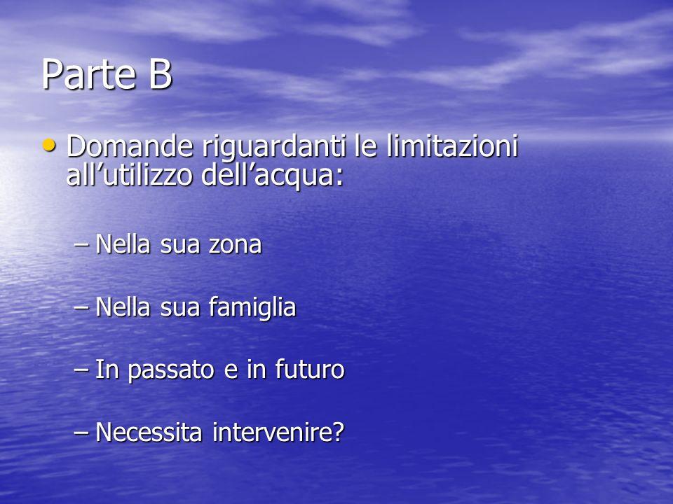 Parte B Domande riguardanti le limitazioni allutilizzo dellacqua: Domande riguardanti le limitazioni allutilizzo dellacqua: –Nella sua zona –Nella sua