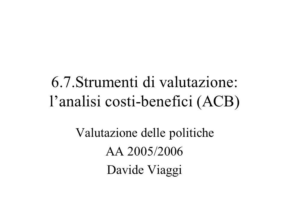 6.7.Strumenti di valutazione: lanalisi costi-benefici (ACB) Valutazione delle politiche AA 2005/2006 Davide Viaggi